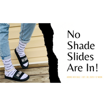 "Load image into Gallery viewer, ""No Shade""Black Statement Slides-Adore Her Sole"