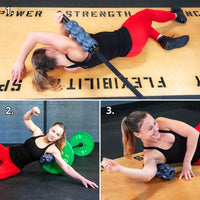 An athletic woman demonstrating three different ways to roll the lats with and without a barbell.