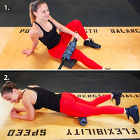 An athletic female demonstrating two ways to perform myofascial release with a Revolv Roller on the quadriceps muscles, with and without a barbell.