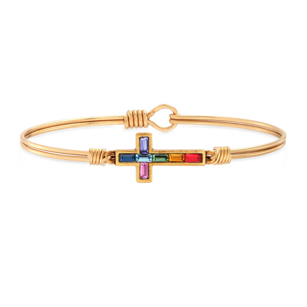 Luca+Danni- Baguette Cross Bangle Bracelet
