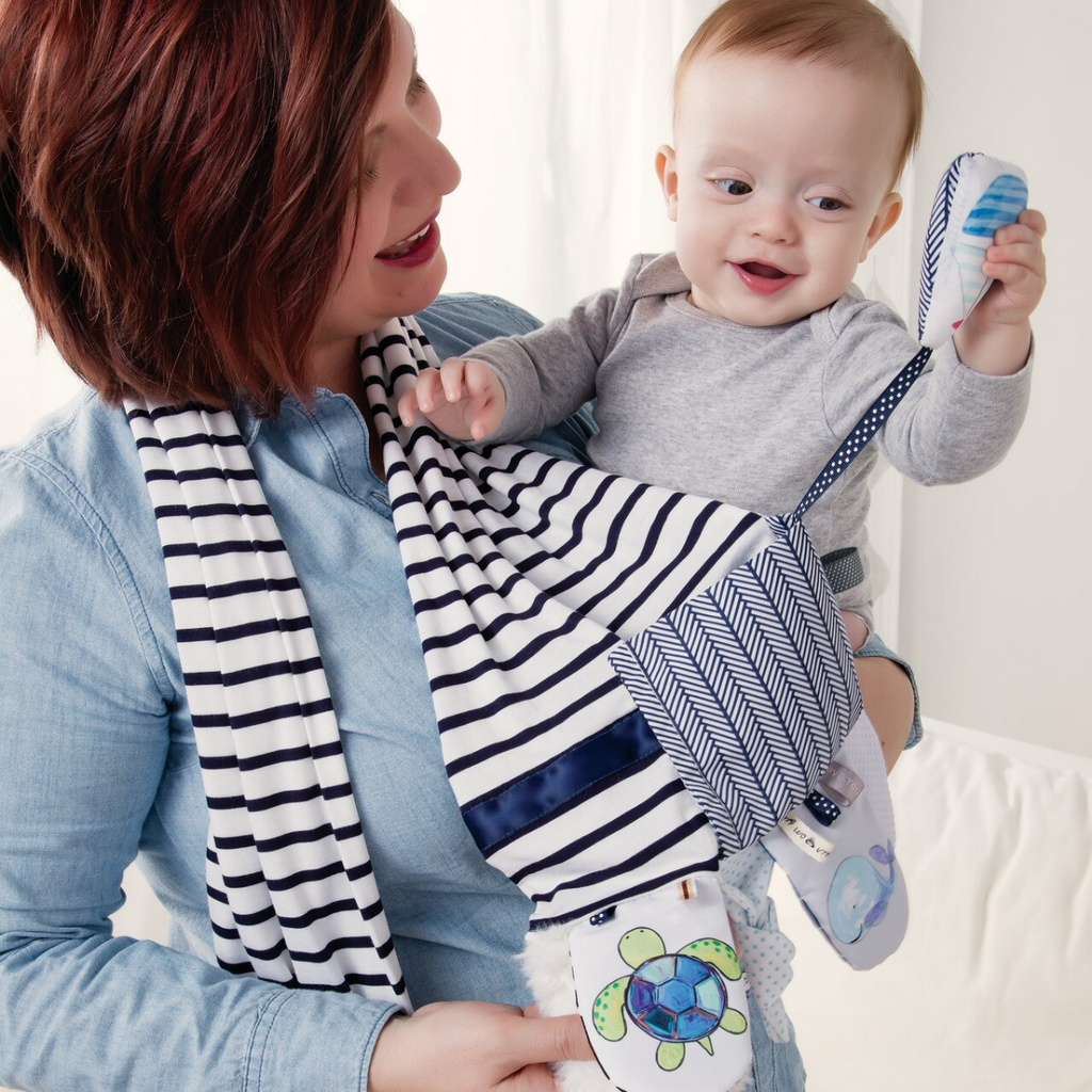 Demdaco - Mommy & Me Activity Scarf - Blue & White