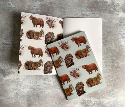 Scottish Animals - Highland cow and iconic wildlife A5 Notebook with plain paper
