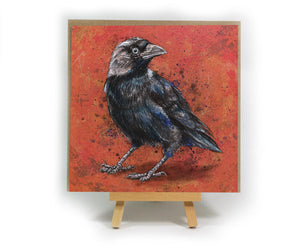 Jackdaw square greeting card