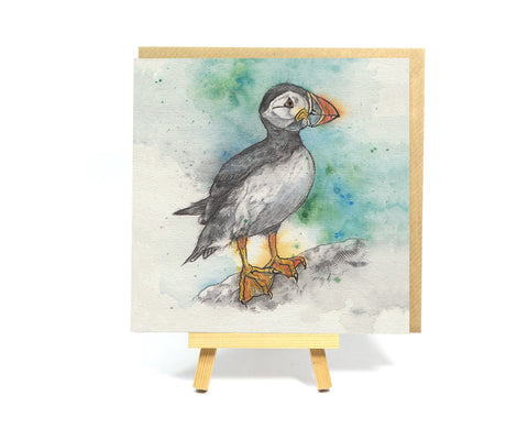 Watercolour Puffin square greeting card