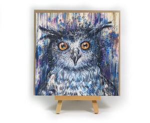 Purple Owl square greeting card