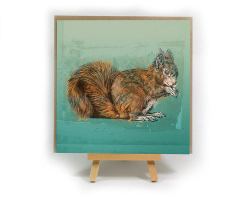 Green Red Squirrel square greeting card