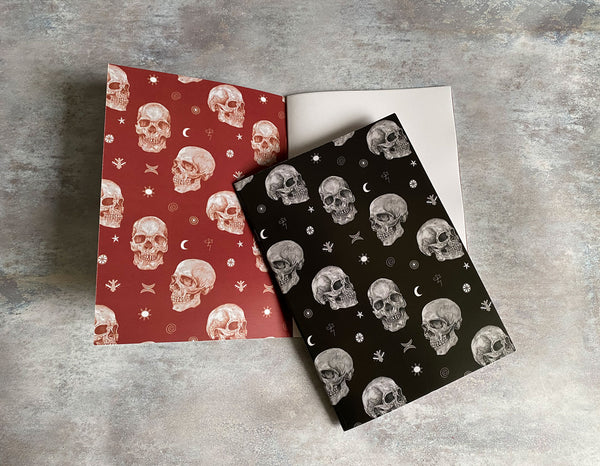 Symbol Skulls - Skulls with Pictish Symbols A5 Notebook with plain paper