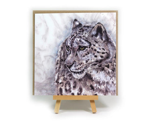 Snow Leopard square greeting card