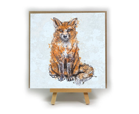 Fox square greeting card
