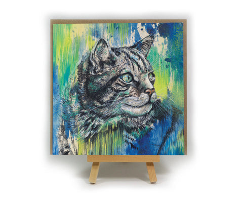 Scottish Wildcat square greeting card