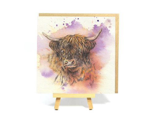 Watercolour Highland Coo square greeting card
