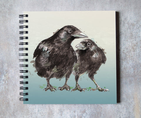 Two Crows Square Notebook - mini sketchbook