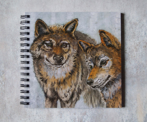 Wolves Square Notebook - Odin's Wolves Geri & Freki