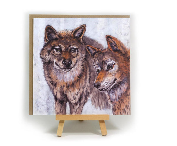 Geri & Freki - Odin's Wolves - square greeting card