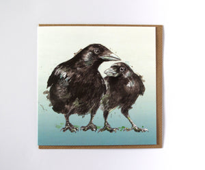 Two Crows square greeting card