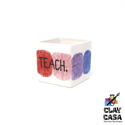 Custom Painted Cube / Square Vase