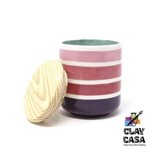 Large Canister w/ Wooden Lid