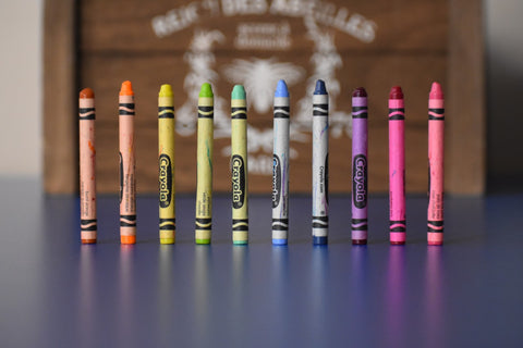 Crayons on a table