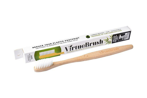 VirtueBrush Bamboo Toothbrush in Flat White - Medium