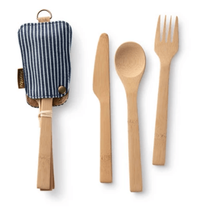 Bamboo Knife, Fork & Spoon Set with Organic Cotton Sleeve