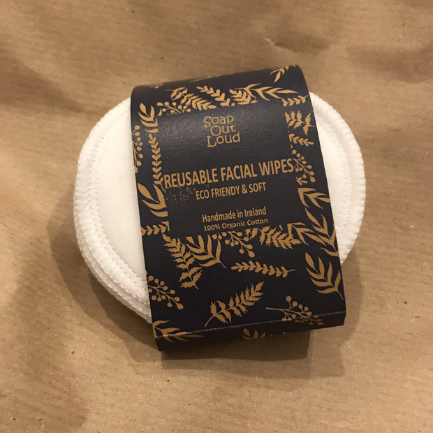 Organic Cotton Reusable Facial Wipes by Soap Out Loud