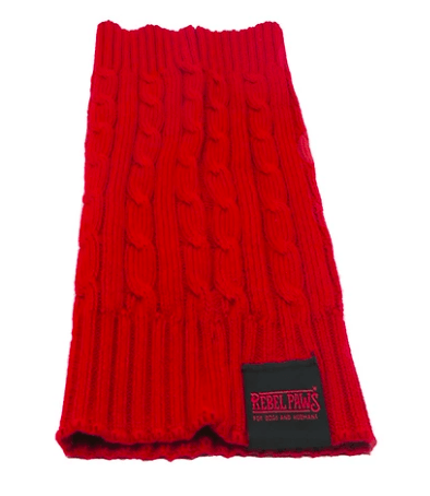 100% Organic Cotton Dog Snood - Chilli Red - Large