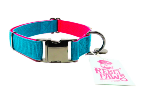 Rebel Paws Hemp Dog Collar- Turquoise - Medium