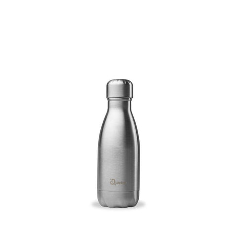 Qwetch Insulated Stainless Steel Bottle - Brushed Steel - 260ml
