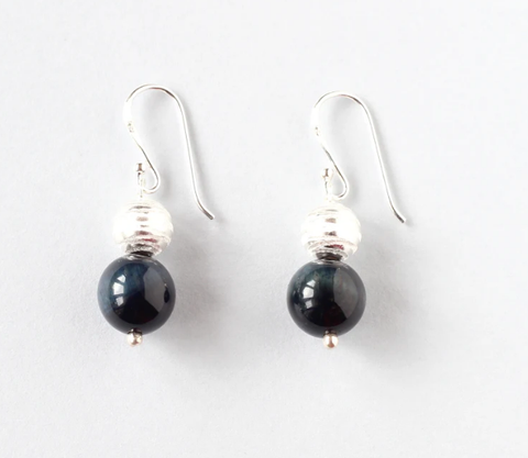 Blue Tiger Eye Sterling Silver Earrings by IL Gemstones