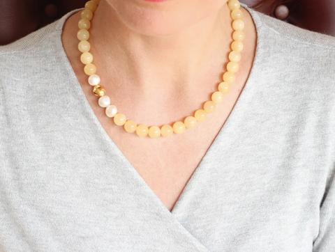 Yellow Jade Baroque Pearls Gold Necklace by IL Gemstones