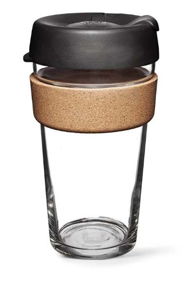KeepCup Brew 16oz Glass Coffee Cup With Cork Band - Espresso