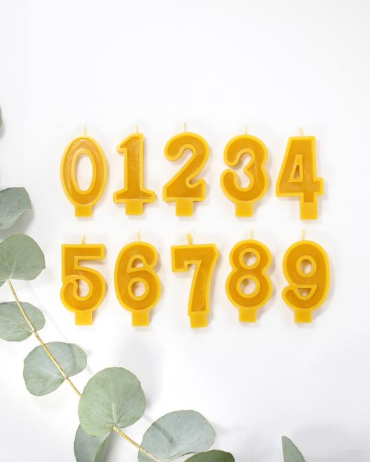 Beeswax Number Candles