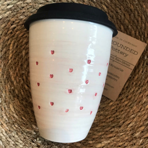 Travel Ceramic Mug 'Hearts' by Grounded Pottery