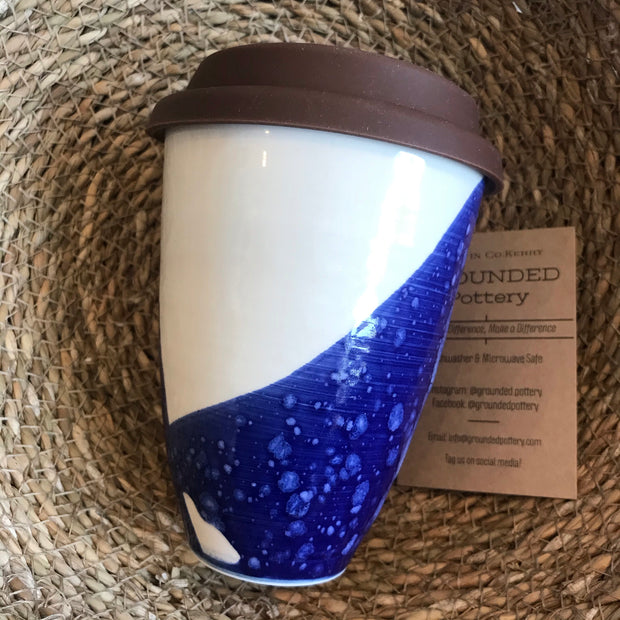 Travel Ceramic Mug 'Blue' by Grounded Pottery