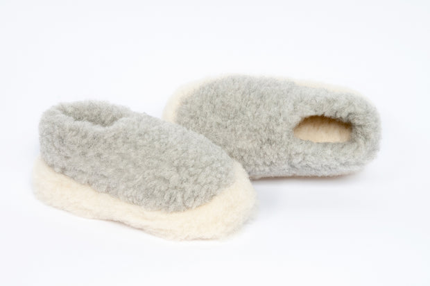 Irish Pure Wool Slippers - Light Grey