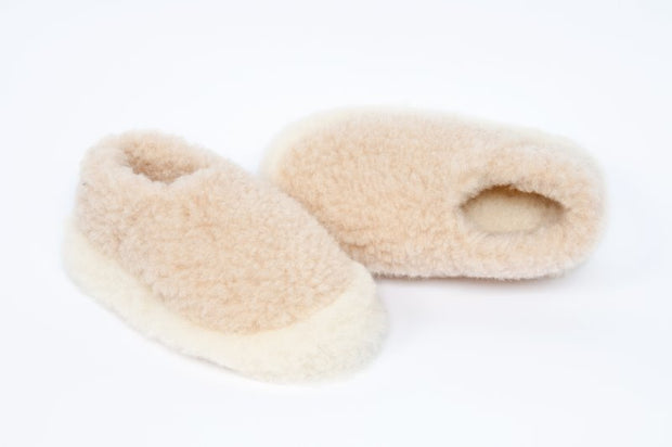 Irish Pure Wool Slippers - Natural