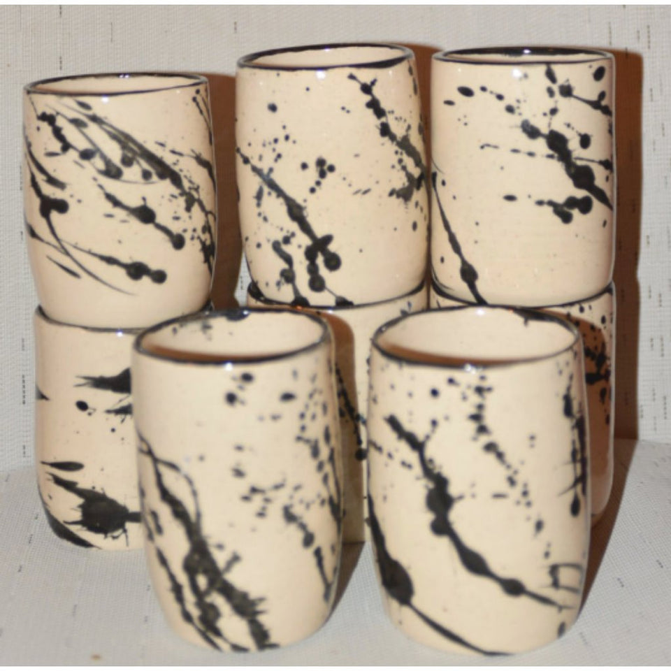 HANDLELESS MUGS-SPLASH COLLECTION WHITE STONEWARE