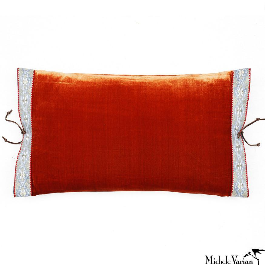 Silk Velvet Pillow Burnt Orange 12x22