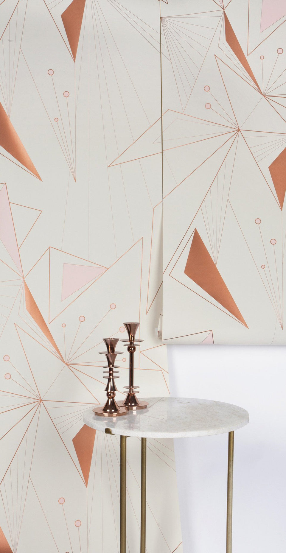 DecoPrism Wallpaper in Metallic Copper Blush Pink