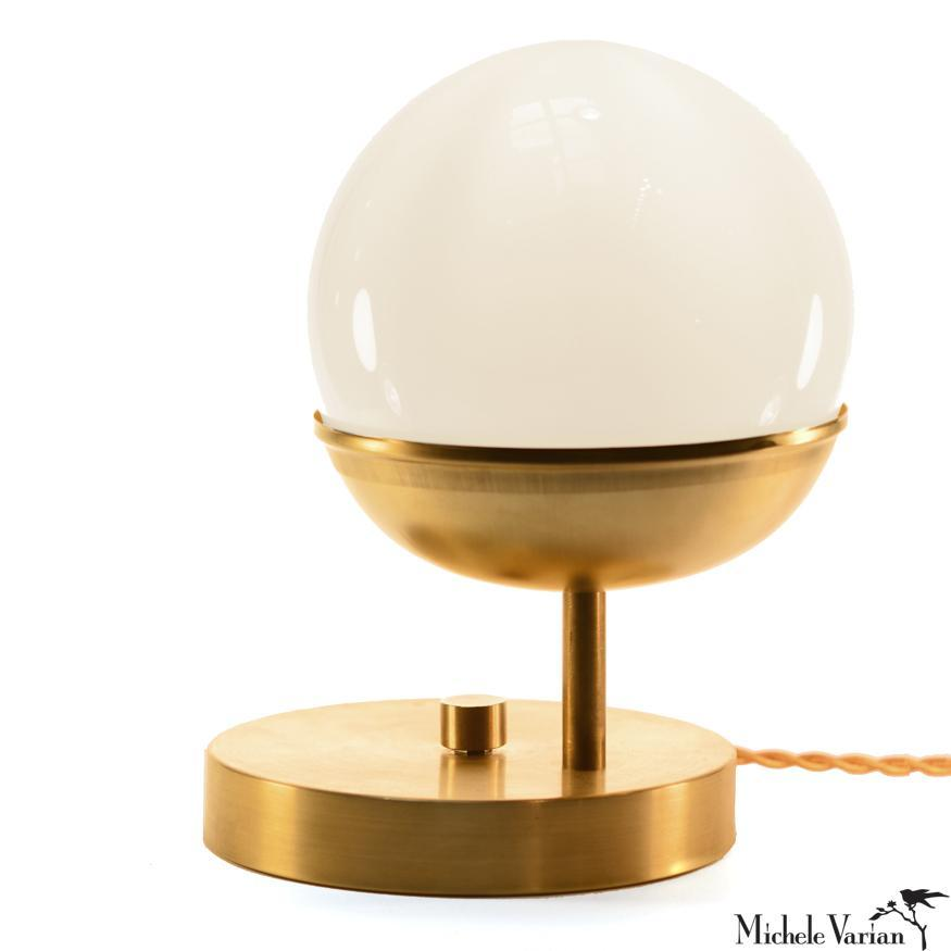 Brass Off Center Globe Table Light