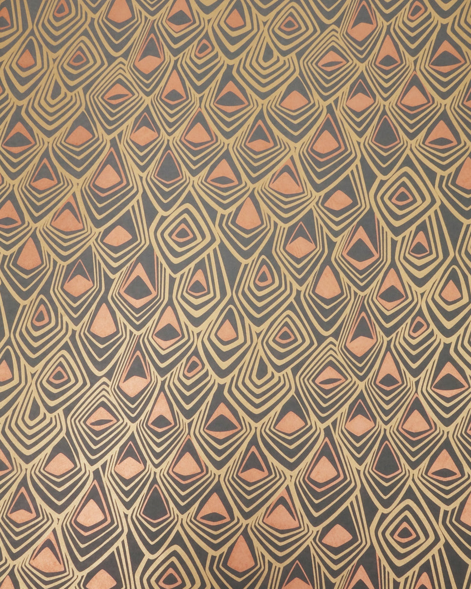 Boho Diamond Wallpaper in Metallic Bronze and Copper on Graphite
