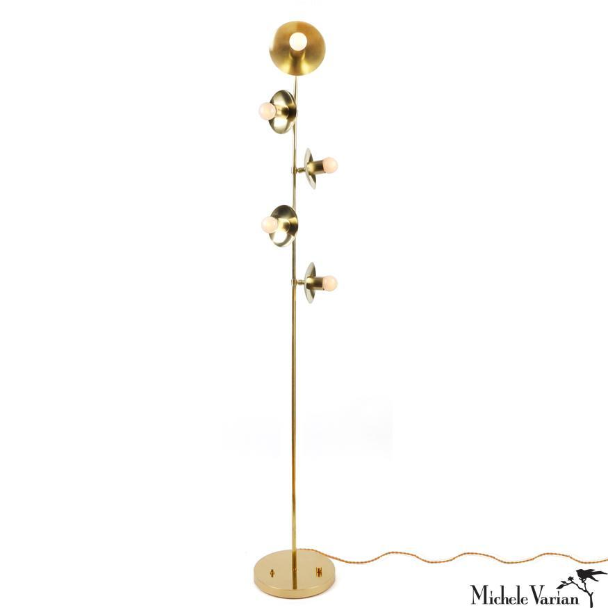 Brass Five Bulb Pivoting Blossom Floor Lamp