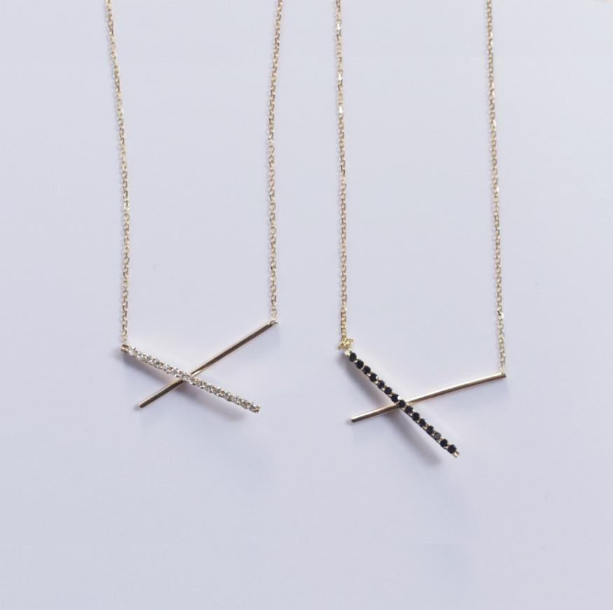 Horizon Cross Bar Gold Necklace