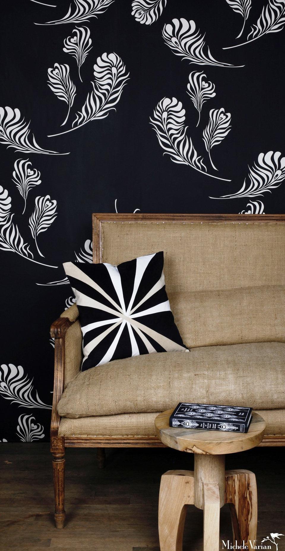 Plume Wallpaper Black Off White