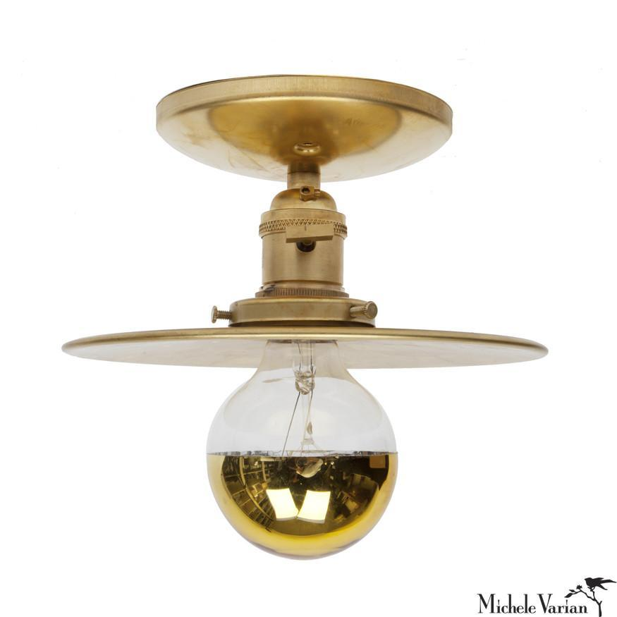 Brass 8 Inch Discus Sconce Light