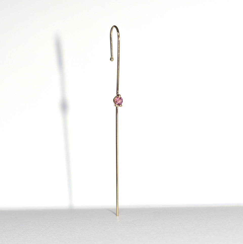 Color Gem  Needle Earring