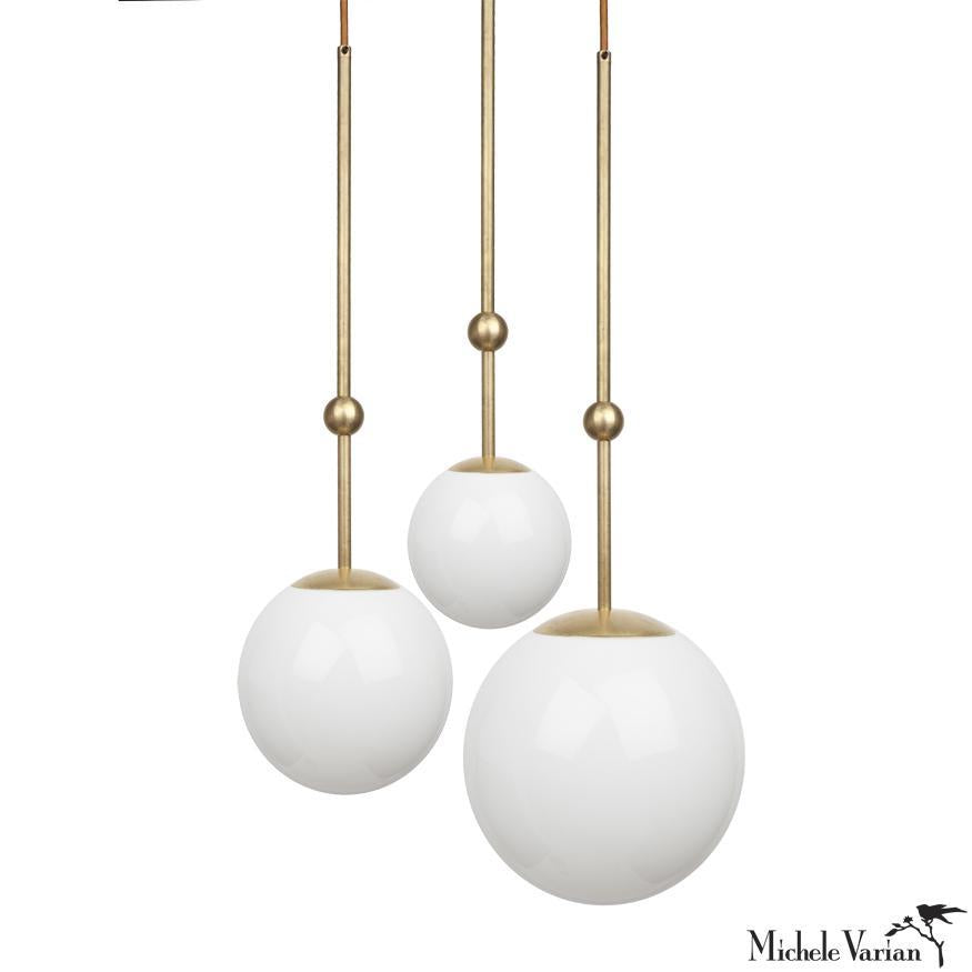 Brass Ball And Glass Globe Pendant Light 10 Inch