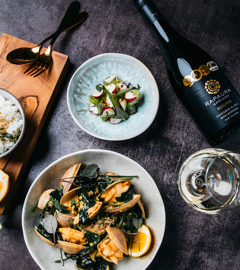 Surf Clams and Rapaura Springs Reserve Sauvignon Blanc