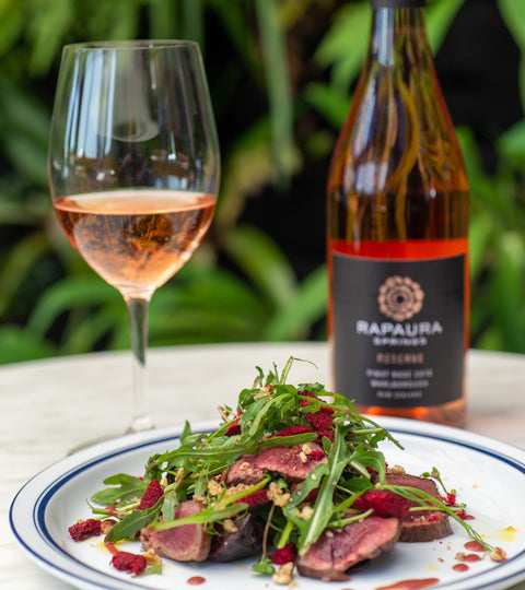 Cod & Lobster Venison Salad with Rapaura Springs Reserve Pinot Noir Rose