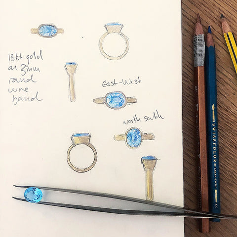 Sketch for a Swiss blue topaz ring commission